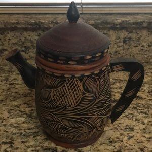 Vintage Large Decorative Wooden Teapot  ☕️
